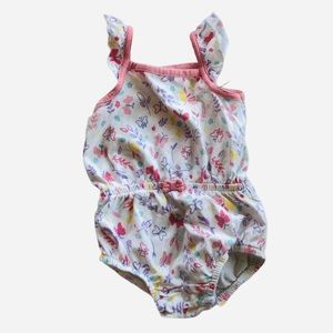 KoalaBaby Butterfly Floral Romper 6-9m pink white